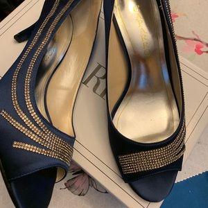 Navy satin peep toe heels